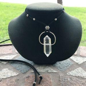 Double point crystal quartz leather necklace
